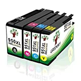 GREENSKY 4 Packung Kompatible Tintenpatrone Ersatz für HP 950XL 951XL für HP 8600 8610 8615 8620 8625 8630 8640 8660 8100 251dw 276dw Drucker - 4 Farbe (1 Schwarz,1 Cyan,1 Magenta, 1Gelb)