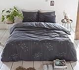Walra Flanell Bettwäsche 2 teilig Bettbezug 135 x 200 cm Kopfkissenbezug 80 x 80 cm Winter Flourish Anthrazit 1208057