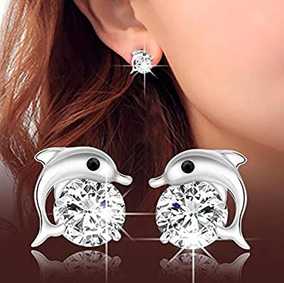 Westeng Earrings Women Zircon Crystal Jewelry Sparkling Silver Stud Earrings Cute Dolphin-shaped Starlight : everything 5 pounds (or less!)