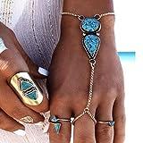 jovono Bohemian Armbänder Beach Vintage Ethnic Türkis, Armband für Frauen und Mädchen