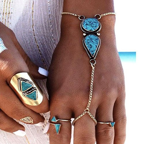 Jovono Pulsera Bohemia Playa Vintage Etnica Turquesa Dedos Pulsera para Mujeres y Niñas