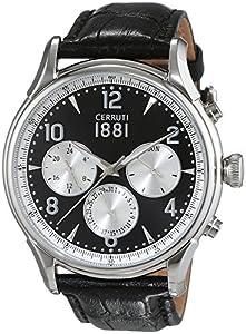 Cerruti 1881 señores-reloj analógico de cuarzo cuero Bellagio CRA107SN02BK de Cerruti 1881