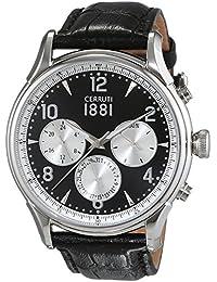 Cerruti 1881 señores-reloj analógico de cuarzo cuero Bellagio CRA107SN02BK