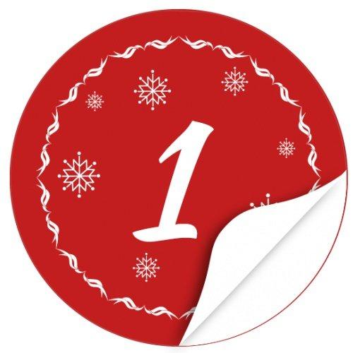 Adventskalender-Zahlen Aufkleber 1 bis 24 / rot Vintage / Etiketten / Sticker / Weihnachtskalender / Advent / Rund / DIY / zum Aufkleben