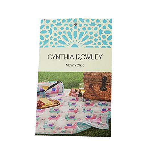 Cynthia Rowley Rose Alle Tag Outdoor Picknick Decke | 127x 152,4cm | Reversible/Wasser Beständig in Gerollt Tuch Schultertasche - Reversible Wasser