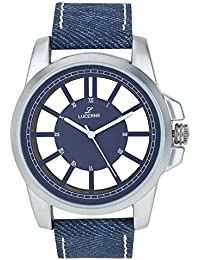 LUCERNE Analogue Transparent Design Blue Dial And Blue Color Leather Strap Casual Gift Watches For Men Gifts For...