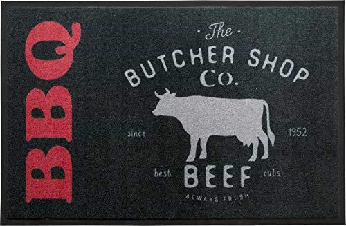 Primaflor - Ideen in Textil BBQ Barbecue Grillmatte Grillunterlage Butcher 80x120 cm Grillschutzmatte Bodenschutzmatte für Grill, Rutschfeste Grillunterlage Schmutzfangmatte Bodenmatte