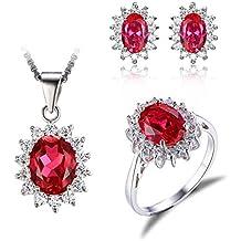 JewelryPalace Elegante Principessa Diana Kate Middleton Ciondolo Anello Orecchini Collana 45cm Parure Argento Sterling 925