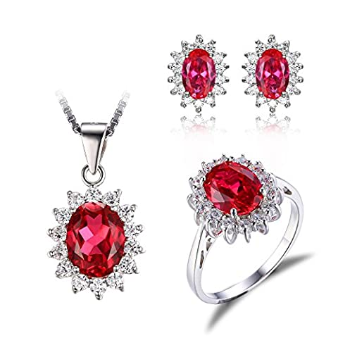 JewelryPalace Princess Diana William Kate Middleton's 7.9ct Created Red Ruby