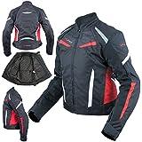 Moto Blouson Textile Femme Protections CE Sport Voyage Rouge L