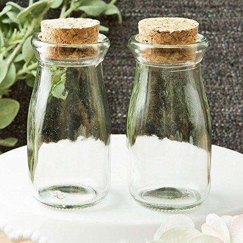 (FavorOnline Perfekt Plain Collection Kleine Vintage Glas Milch Flasche mit Rund Kork Top Farblos)