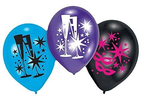 Vian Lundgaard - Latexballon 6 Stk.- Maske Sterne Gläser 28cm ungefüllt, Mehrfarbig