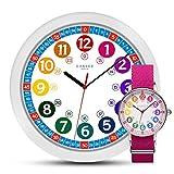 MNU 1030 Kinderwanduhr Wanduhr und MNA 1030 M Armbanduhr Kinder Armbanduhr Kinderuhr Lernuhr Mädchen