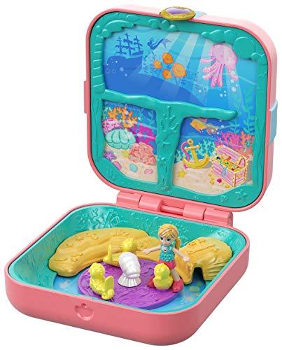 Polly Pocket Coffret Secret La Grotte de la Sirène, mini-figurine, accessoires, autocollants et 3 surprises cachées, jouet enfant, édition 2019, GDK77