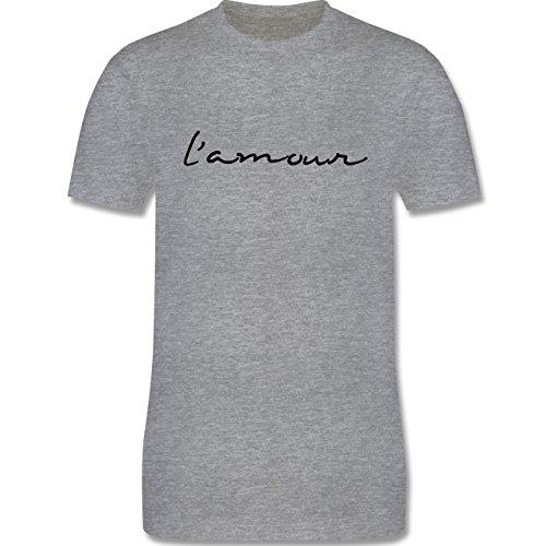 Statement Shirts - l'amour Liebe - Herren Premium T-Shirt Grau Meliert