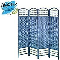 Biombo Azul Plegable Cuatro Puertas Madera Natural para Dormitorio/salón. Edición Natur 170 x