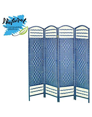Biombo Azul Plegable Cuatro Puertas Madera Natural para Dormitorio/salón. Edición Natur 170 x 160 cm - Hogar y más