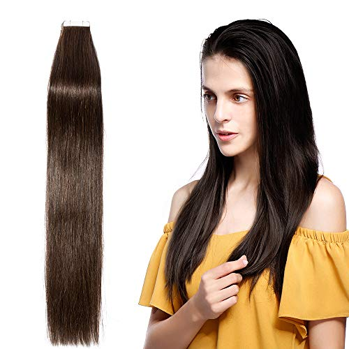 30-60cm hair extension adesive capelli veri marrone - 30cm 2g/pcs 20 fasce - 100% remy human umani lisci naturali(12