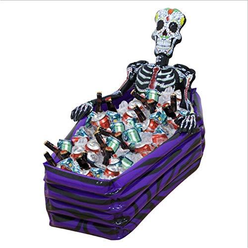 GJXY 1 Stücke Aufblasbare Buffet serviert & Salat Bar EIS Eimer Essen Kühler Aufblasbare Bier Trinken Tablett, Aufblasbarer Sarg-Eiskübel, Halloween, aufblasbarer Sportgetränkekühler,26 * 30 * 102cm