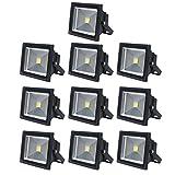 10×Auralum® 50W Projecteur LED Spot LED Extérieur IP65 Lumière Blanc chaud 2800-3200K 4500Lumen