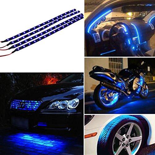 4 Pcs 30cm Bande de Lampe LED Bleu Flexible et Etanche pour la voiture TOOGOO R