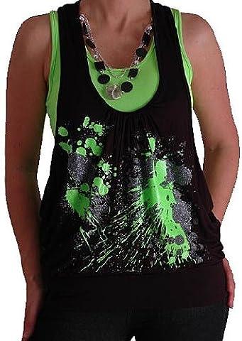 Graphic Design Druck Neon Fashion Top mit Perlen Schwarz &