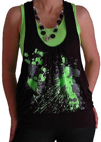 Graphic Design Druck Neon Fashion Top mit Perlen Schwarz & Grün M/L