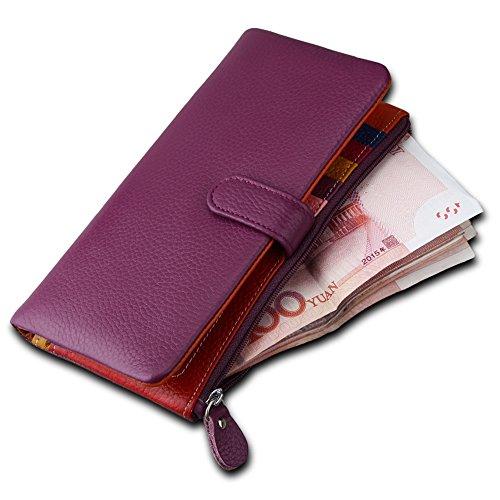 ANNE Sacchetto di carta multi-card della raccoglitore di cuoio delle donne di colore della caramella Purple