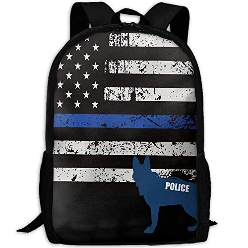 American Police Dog Unique Laptop Rucksack, Travel Computer Bag For Women & Men, Anti Theft Water Resistant College School Bookbag For Girls & Boys
