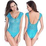 dentelle semiperméable licol maillot de bain pièce maillot Europe et dame de polyester maillot de bain , blue , l