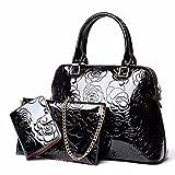 GQFGYYL Frauen - Lack Haut Drei stücke von Mutter - Tüte, Eleganten Leder Handtasche, einheitlichen Schulter ranzen,Schwarz