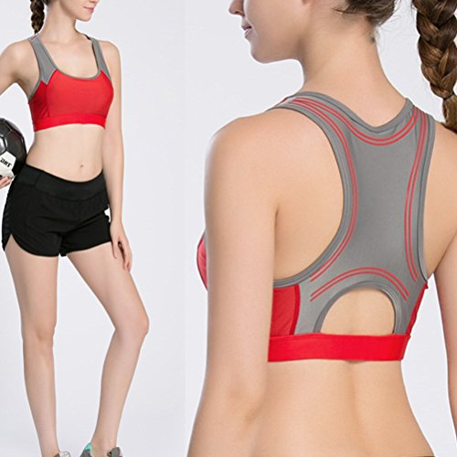Zhhlinyuan Sexy Women's Running Fitness Aerobics Exercise Tank Tops Des sports Yoga Bra Watermelon Red