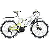 26 Zoll MTB Fully Galano Adrenalin DS Mountainbike Scheibenbremsen Jugendfahrrad, Farbe:weiss/grün