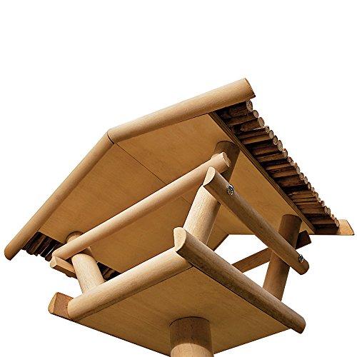 Vogelhaus Vogelhäuschen Futterstation Futterhaus mit Ständer -Bambusdach - 3
