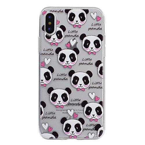 Custodia per iPhone X Cover, ZCRO Custodia in Silicone Trasparente TPU Colorata Modello Ultra Slim Disegno Case Gomma Morbida Antigraffio Bumper Caso Cover Protezione con Penna Stilo per iPhone X 5.8  Pandas