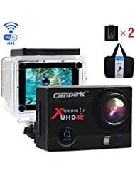 Campark ACT74 Action Kamera WIFI 1080P Sports Cam 4K Camera 16MP Ultra Full HD Helmkamera wasserdicht 170 ° Weitwinkel mit 2 Batterien Transporttasch