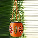 #7: ExclusiveLane Handpainted Metal Hanging Tea Light Orange (Non Electrical) - For Gift / Home Daccor