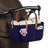 PSATO Baby Windel Aufbewahrungstasche Faltbarer Filz Caddy Organizer mit 8 Taschen und 2 Griffen Einfach zu tragen - Organisiert für die Reise mit dem Auto und für Kleinkindtücher,Marine