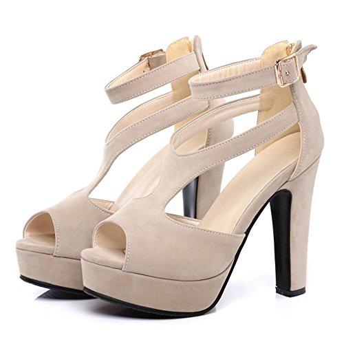 TAOFFEN Femmes Chaussures Western Bloc Talons Hauts Plate-Forme Sandales De Boucle 521 Beige