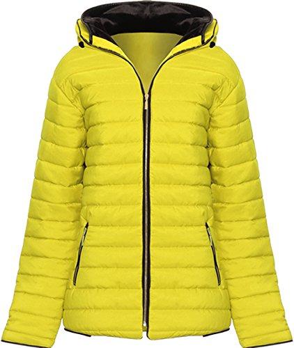 WEARALL Damen Plus Puffa Gepolstert Mantel Jacke Damen Mit Kapuze Reißverschluss Lang Hülle Liniert Tasche - Gelb - 46