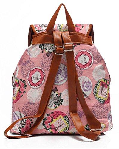 Drucken Damen Mädchen Leinwand Rucksack Reisetasche Rucksäcke Kursteilnehmer Schule Beutel Pink Pink