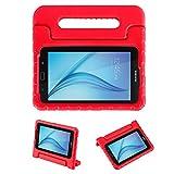 LEADSTAR Samsung Galaxy Tab 3 Lite 7.0 / Tab E Lite 7.0 Kinder Hülle Case mit umwandelbarer Handgriff Super Leichte Stoßfeste Schutzhülle Tasche Cover - Rot