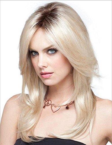 Natürliche Netto (Lange Ombre Blonde Perücke Natürliche Gerade Mittlere Abschied Dunkle Wurzeln Cosplay Voll Perücke Hochtemperatur Faser Haar Für Frauen Dame)