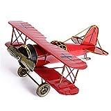 Gobesty Modello di aeroplano vintage, grande aereo retrò in ferro artigianale artigianato in metallo biplano decorazioni aereo modelli per puntelli foto, ornamento dellalbero di Natale, decorazione