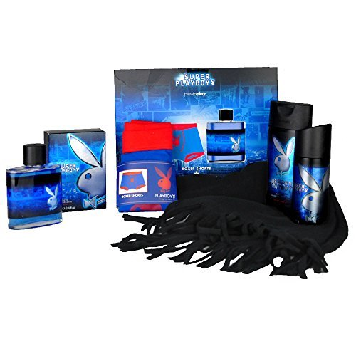 Handverpacktes Geschenk-Set für Männer Blue Man mit Playboy Pflegeprodukten plus Boxershorts und Fleeceschal sowie Eau de Toilette