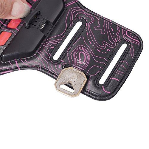 SHANGRUN Etui Brassard Sport Sweatproof Armband Case Anti-Sueur avec Porte-clés Course avec sangle réglable compatible avec pour le Jogging / Gym / Course Compatible avec iPhone 6 Plus / 6s Plus, Sams Rose