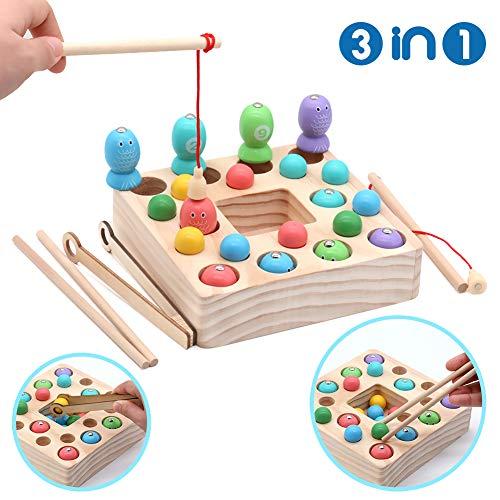 Symiu Holzspielzeug Angelspiel Montessori Lernspielzeug Magnettafel Kinderspielzeug Geschenk ab Kinder Mädchen Jungs 3 Jahre