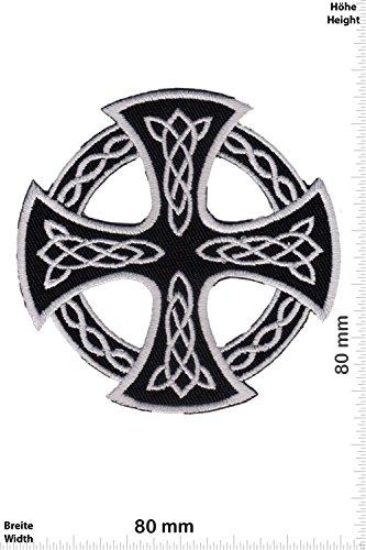 Patch - Kelten Kreuz - silber schwarz - silber schwarz - rund - ausgeschnitten - - Biker - Rocker - Chopper - Weste - Patches - Aufnäher Embleme Bügelbild Aufbügler
