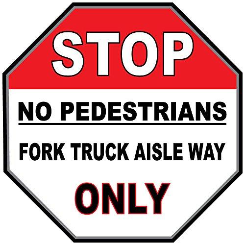 Stop Keine Fußgänger Gabel Truck Gang Wege rot schwarz rutschfeste Boden Aufkleber Aufkleber 17 in longest side