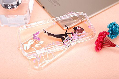 iPhone 7 Custodia, iPhone 7 Cover TPU Trasparente, JAWSEU Apple iPhone 7 4.7 Case Caso Coperture Bella Creativo Brillante Cristallo Trasparente Custodia Cover per iPhone 7 Ultra Sottile Liscio Flessib Ali Ragazza Floreale